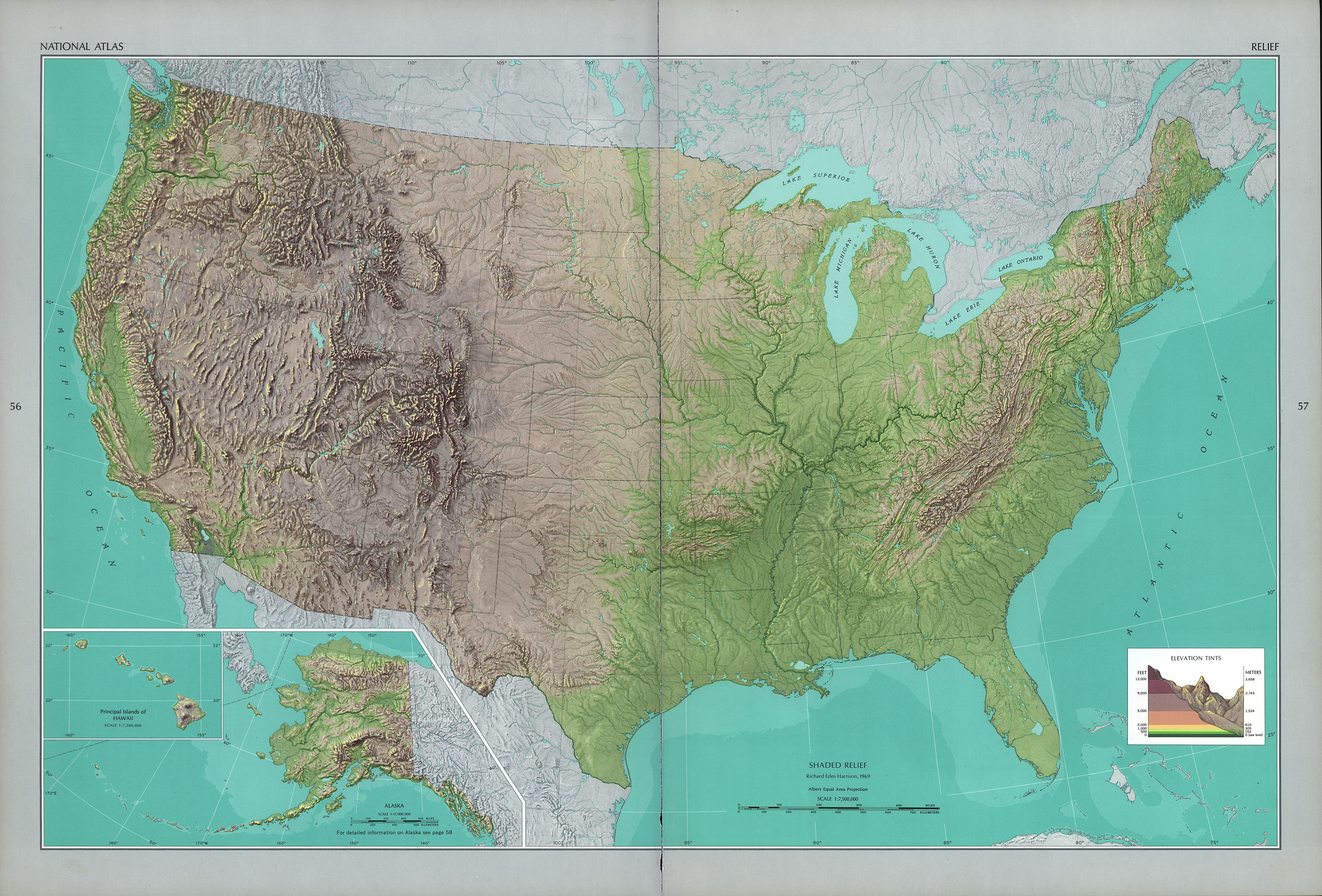 The National Atlas Of The United States Of America Perry - Physical us map