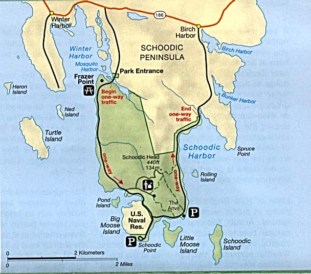 Maps of United States National Parks, Monuments and Historic Sites Acadia National Park - Schoodic Peninsula [Maine] (Detail Map) 1995 (71K)