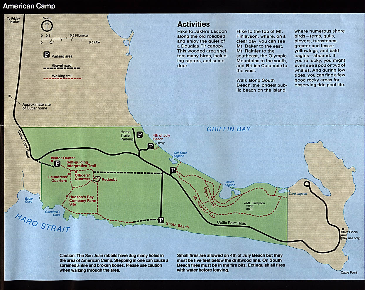 Maps of United States National Parks, Monuments and Historic Sites San Juan Island National Historical Park - American Camp [Washington] (Park Map) 1997 (357K)