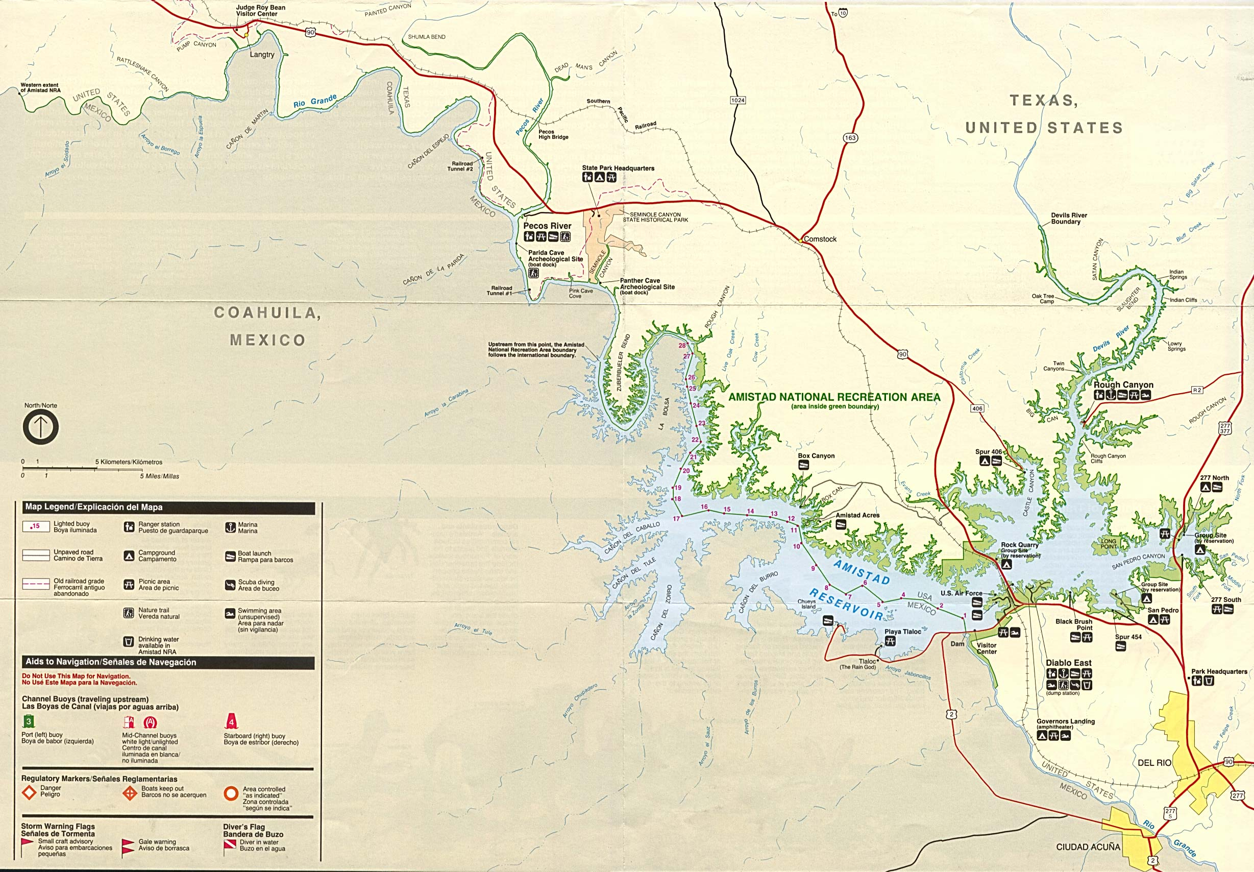 amistad national recreation area park map