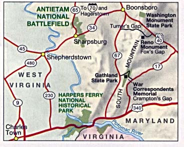 Maps of United States National Parks, Monuments and Historic Sites Antietam National Battlefield [Maryland] (Area Map) 1995 (37K)