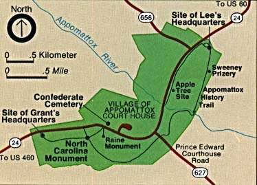 Maps of United States National Parks, Monuments and Historic Sites Appomattox Court House National Historic Park [Virginia] (Area Map) (27K)