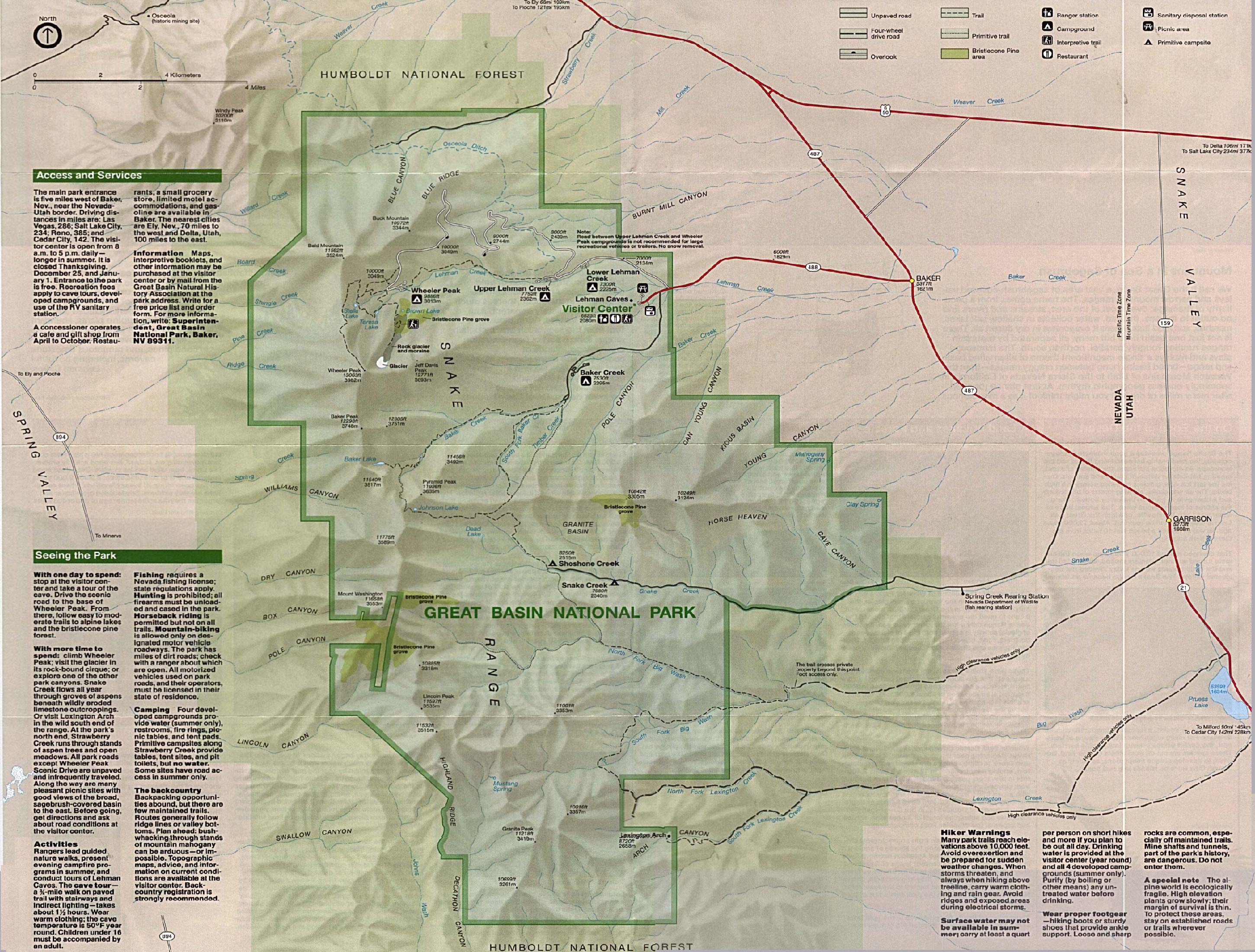 Maps of United States National Parks, Monuments and Historic Sites Great Basin National Park [Nevada] (Park Map / Shaded Relief) 1995 (1MB)