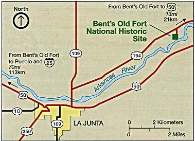 Maps of United States National Parks, Monuments and Historic Sites Bent's Old Fort National Historic Site [Colorado] (Area Map) 1994 (327K)