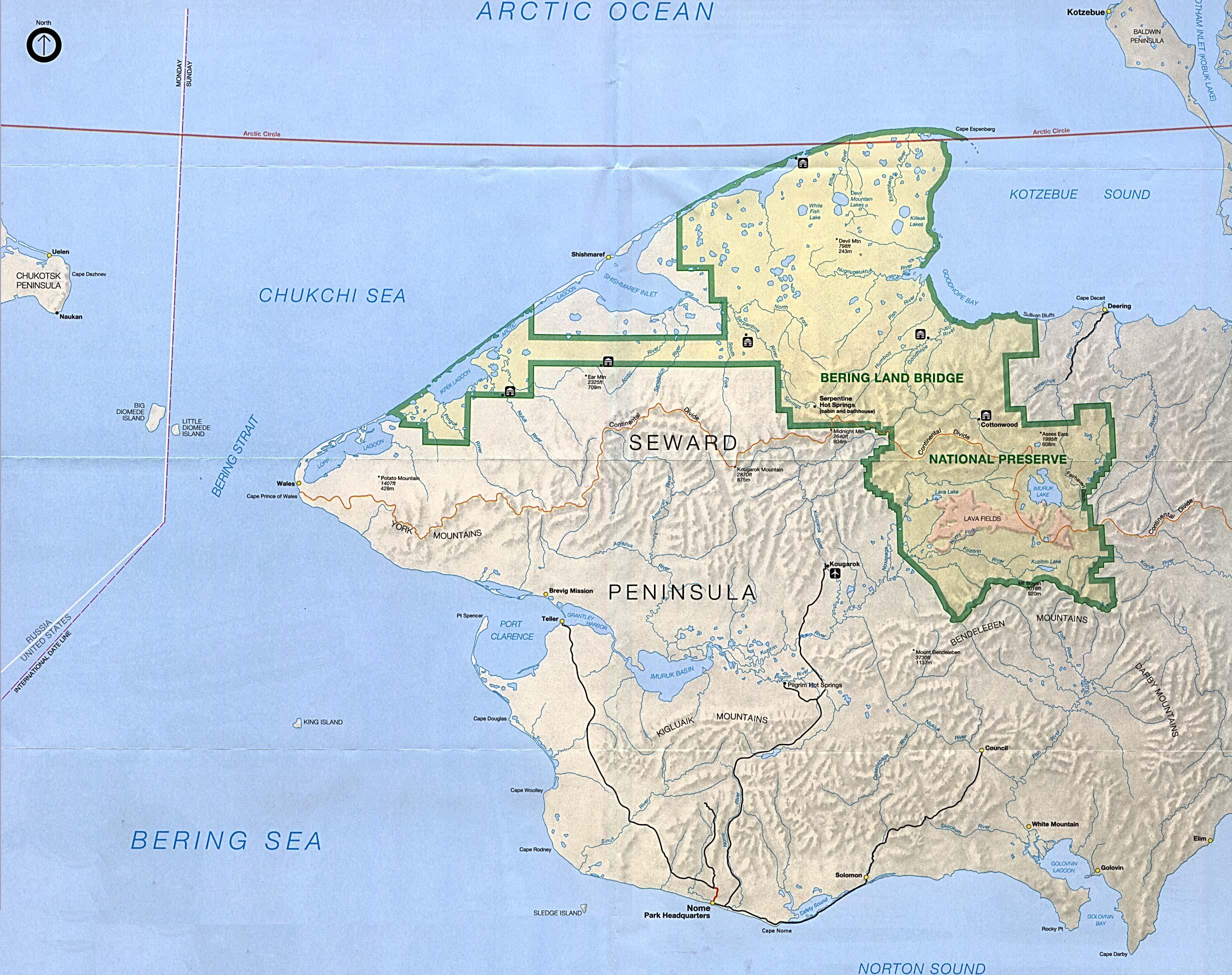 map to enlarge bering land bridge national preserve click