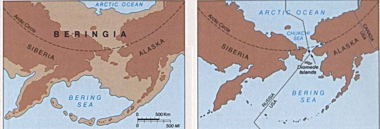 Maps of United States National Parks, Monuments and Historic Sites Bering Land Bridge National Preserve [Alaska] (Beringia: Historical Glaciation Map) 1995 (37K)