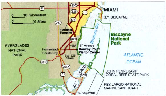 Maps of United States National Parks, Monuments and Historic Sites Biscayne National Park [Florida] (Area Map) 1995 (40K)