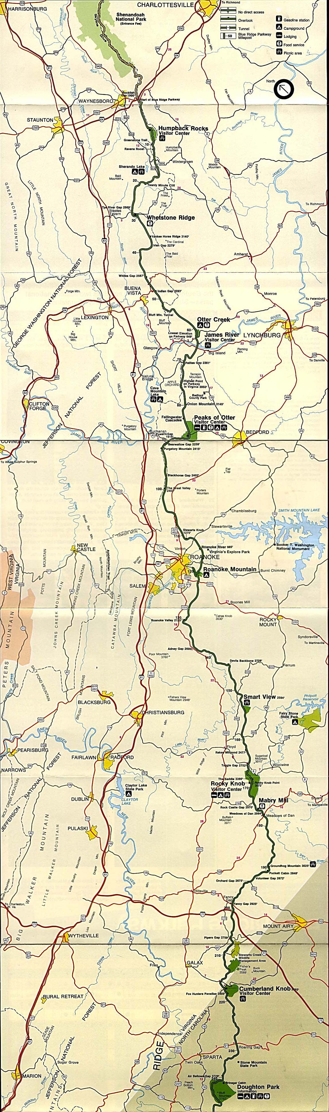 Maps of United States National Parks, Monuments and Historic Sites Blue Ridge Parkway - Northern Section [Virginia / North Carolina] (Park Map) 1995 (901K)