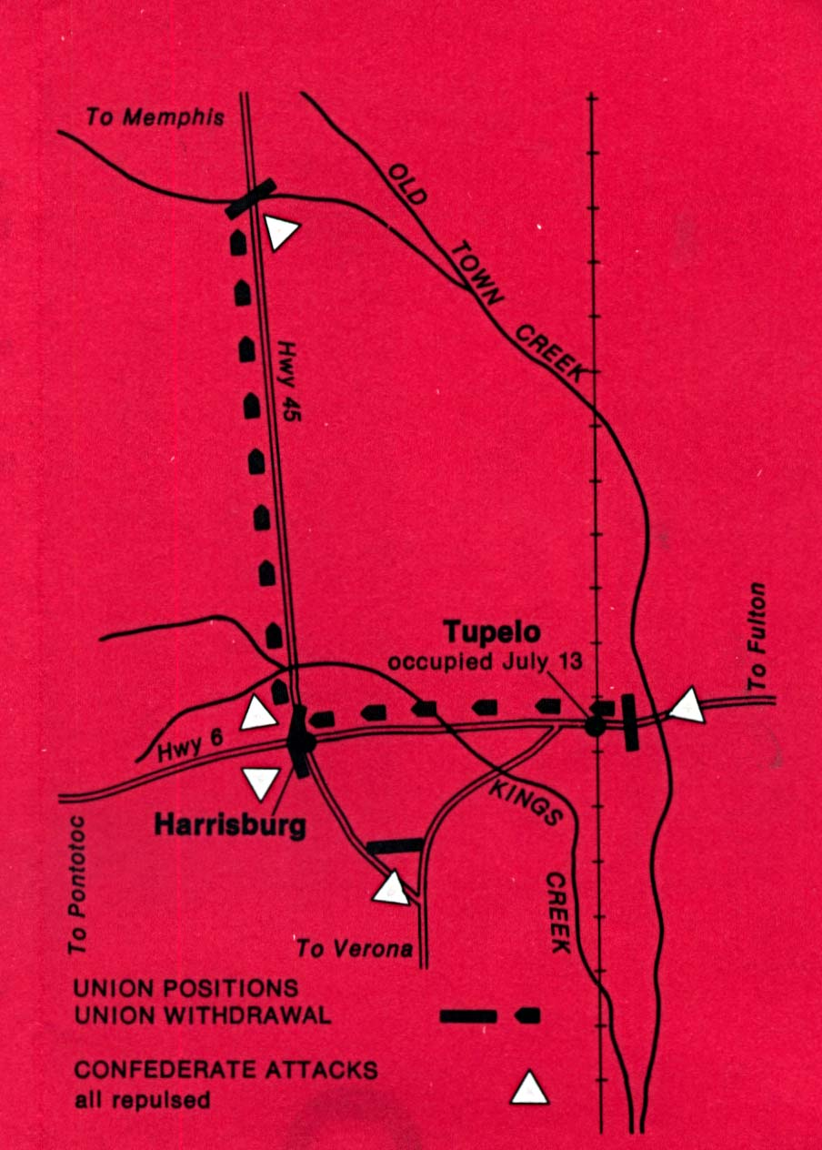 Maps of United States National Parks, Monuments and Historic Sites Tupelo National Battlefield [Mississippi] (Battle Map) 1995 (126K)