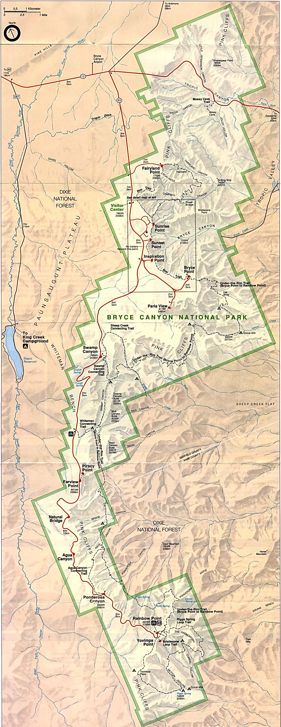 Maps of United States National Parks, Monuments and Historic Sites Bryce Canyon National Park [Utah] (Park Map) 1994 (802K)