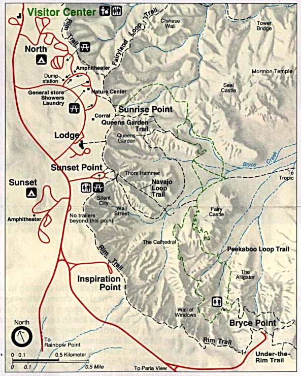 Maps of United States National Parks, Monuments and Historic Sites Bryce Canyon National Park [Utah] (Trail Map) (145K)