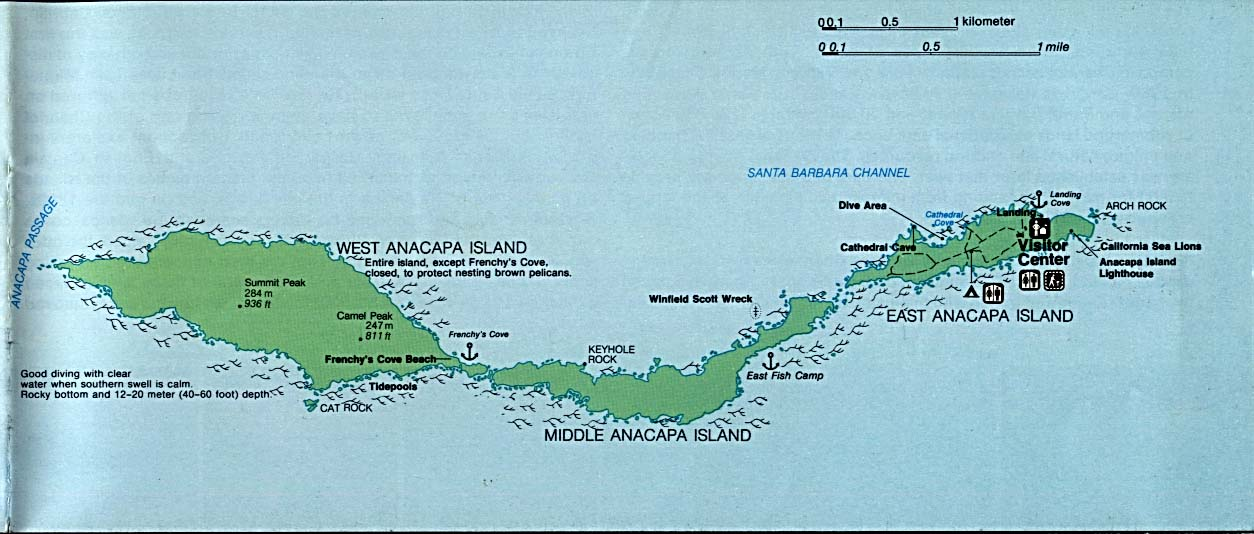 Maps of United States National Parks, Monuments and Historic Sites Channel Islands National Park - Anacapa Island [California] (Detail Map) (107K)
