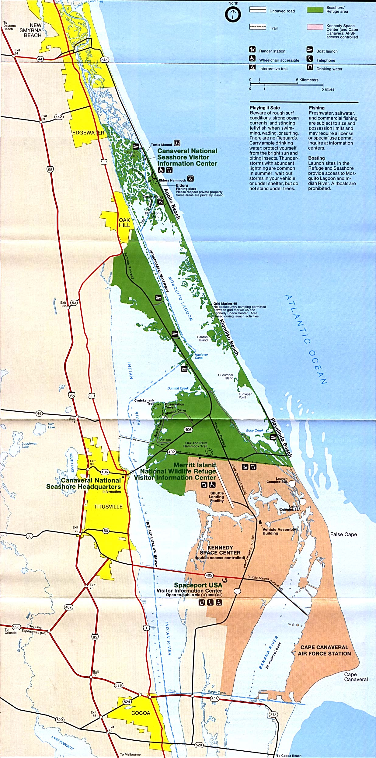 Maps of United States National Parks, Monuments and Historic Sites Canaveral and Merritt Island National Seashore [Florida] (Park Map) 1993 (612K)