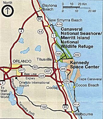 Maps of United States National Parks, Monuments and Historic Sites Canaveral and Merritt Island National Seashore [Florida] (Area Map) 1993 (85K)