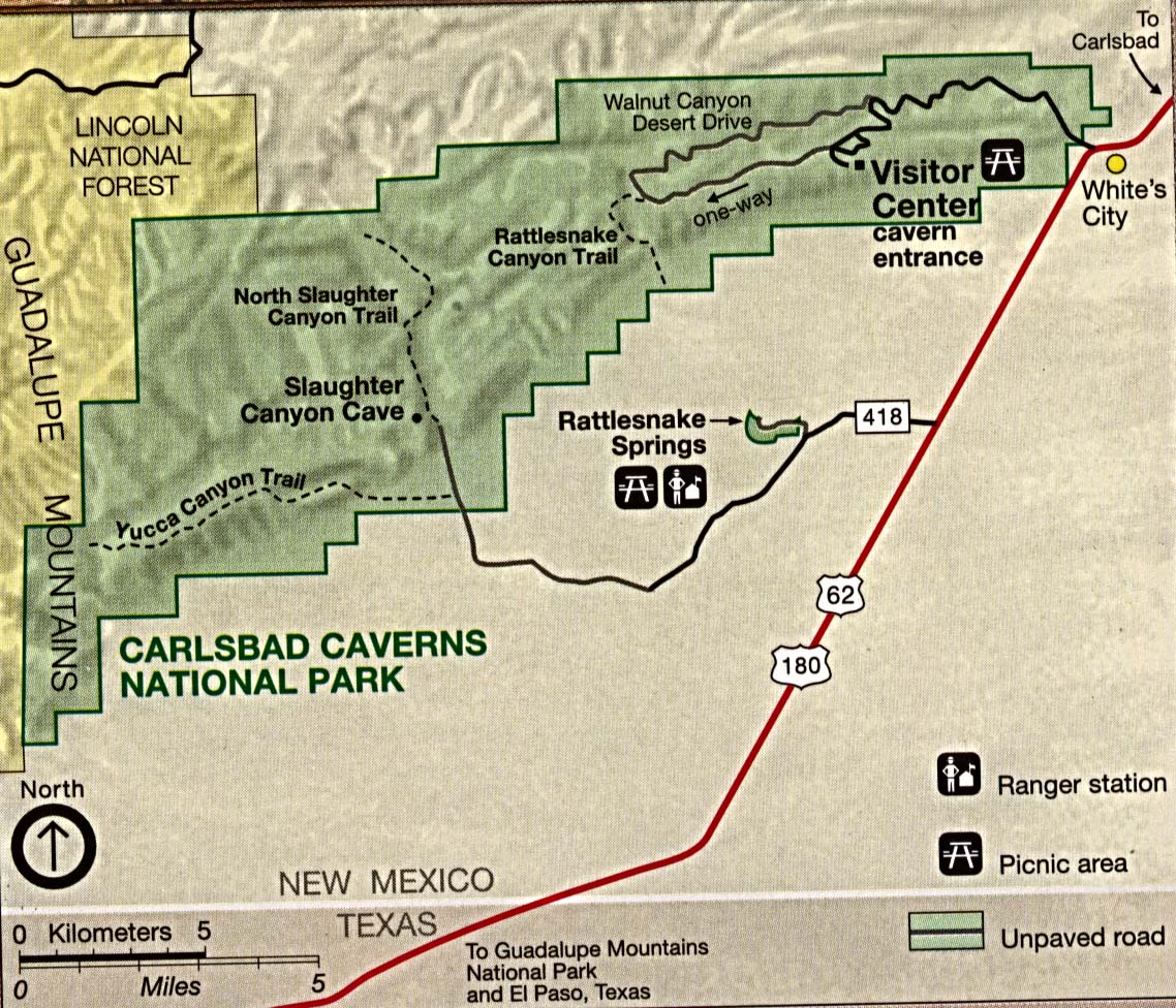 Maps of United States National Parks, Monuments and Historic Sites Carlsbad Caverns National Park [New Mexico] (Park Map) 1995 (324K)