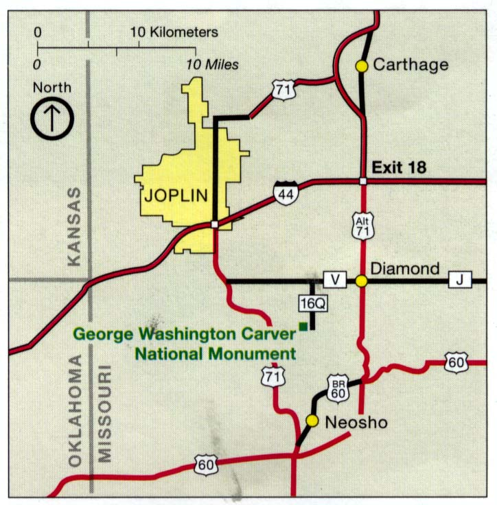 Maps of United States National Parks, Monuments and Historic Sites George Washington Carver National Monument [Missouri] (Area Map) 1995 (106K)