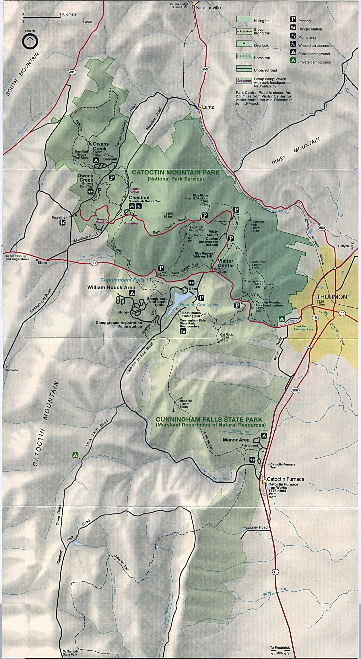 Maps of United States National Parks, Monuments and Historic Sites Catoctin Mountain Park [Maryland] (Park Map) 1995 (588K)