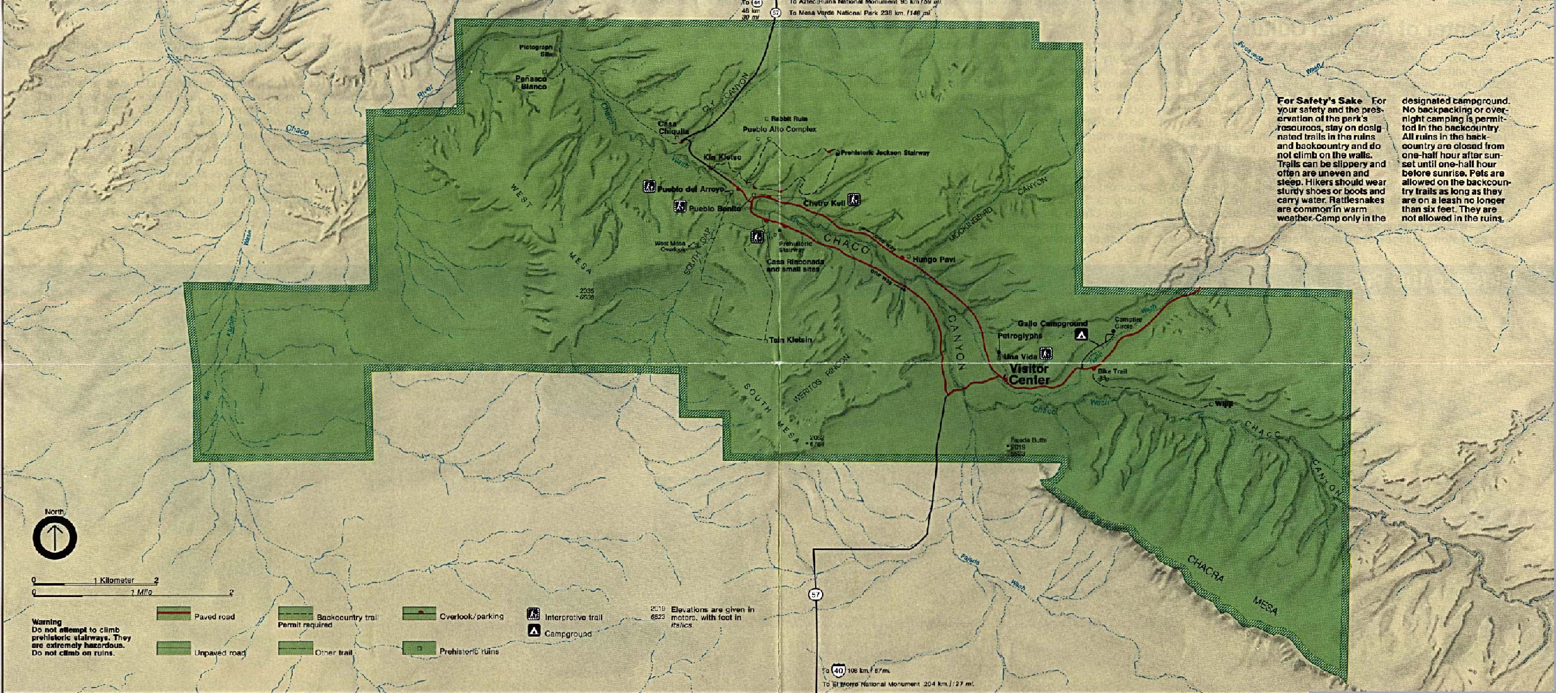 Maps of United States National Parks, Monuments and Historic Sites Chaco Culture National Historic Park [New Mexico] (Park Map) 1995 (1MB)