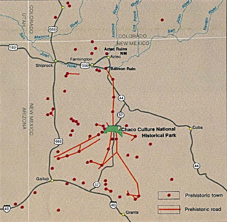 Maps of United States National Parks, Monuments and Historic Sites Chaco Culture National Historic Park [New Mexico] (Area Map) 1995 (230K)