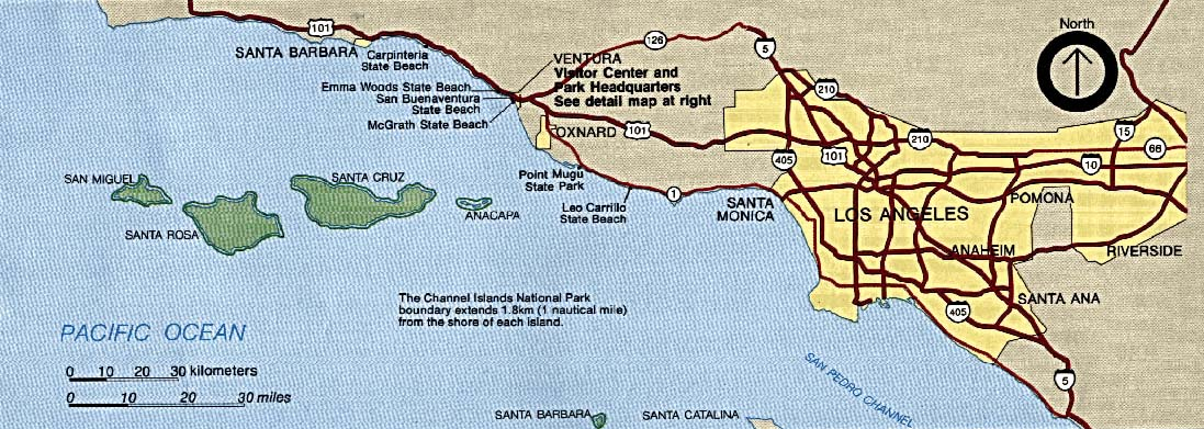 Maps of United States National Parks, Monuments and Historic Sites Channel Islands National Park [California] (Area Map) 1992 (170K)