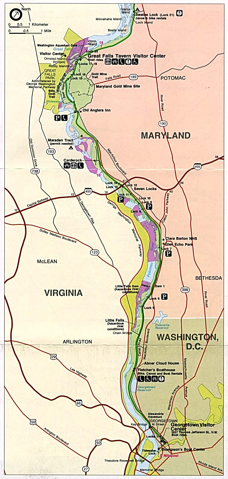 Maps of United States National Parks, Monuments and Historic Sites Chesapeake and Ohio Canal National Historic Park [Washington, DC / Maryland / West Virginia] (Area Map) 1996 (273K)