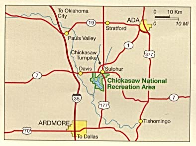 Maps of United States National Parks, Monuments and Historic Sites Chickasaw National Recreation Area [Oklahoma] (Area Map) 1995 (59K)