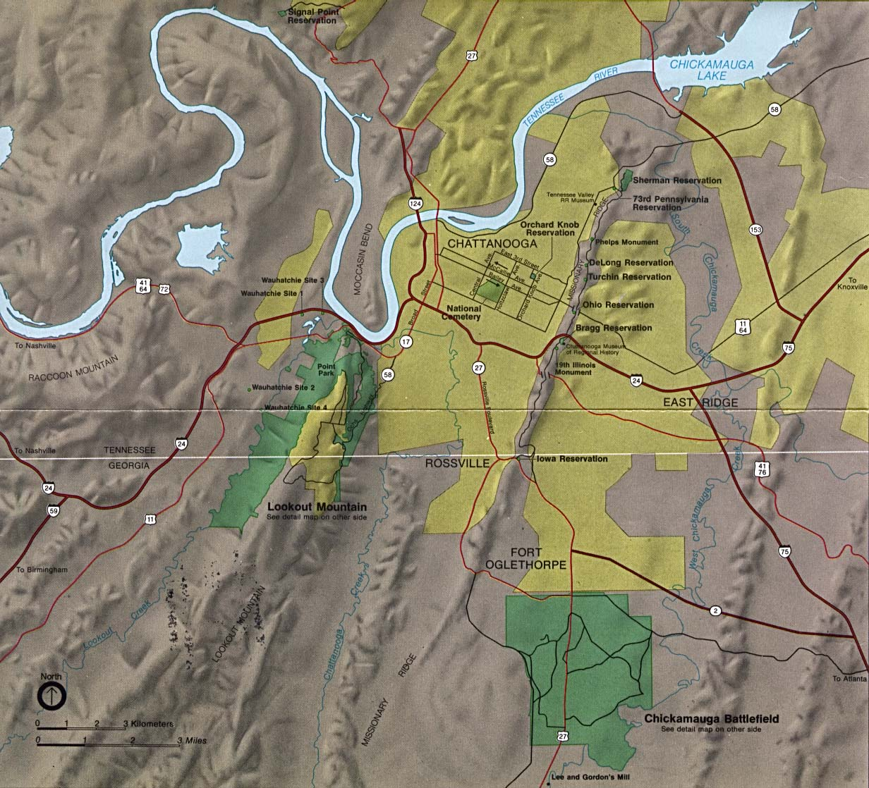 Maps of United States National Parks, Monuments and Historic Sites Chickamauga and Chattanooga National Military Park [Georgia/tennnesee] (Area Map) (267K)