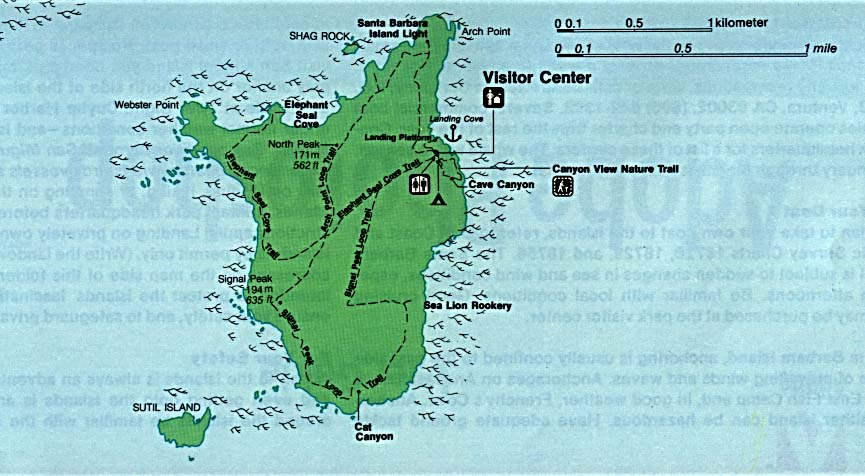 Maps of United States National Parks, Monuments and Historic Sites Channel Islands National Park - Santa Barbara Island [California] (Detail Map) (80K)