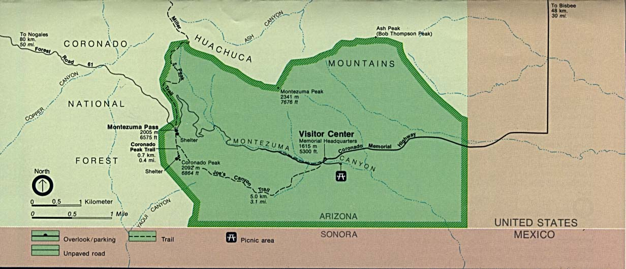 Maps of United States National Parks, Monuments and Historic Sites Coronado National Memorial [Arizona] (Area Map) (100K)