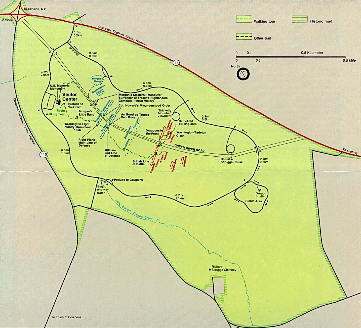 Maps of United States National Parks, Monuments and Historic Sites Cowpens National Battlefield [South Carolina] (Park Map) 1995 (293K)