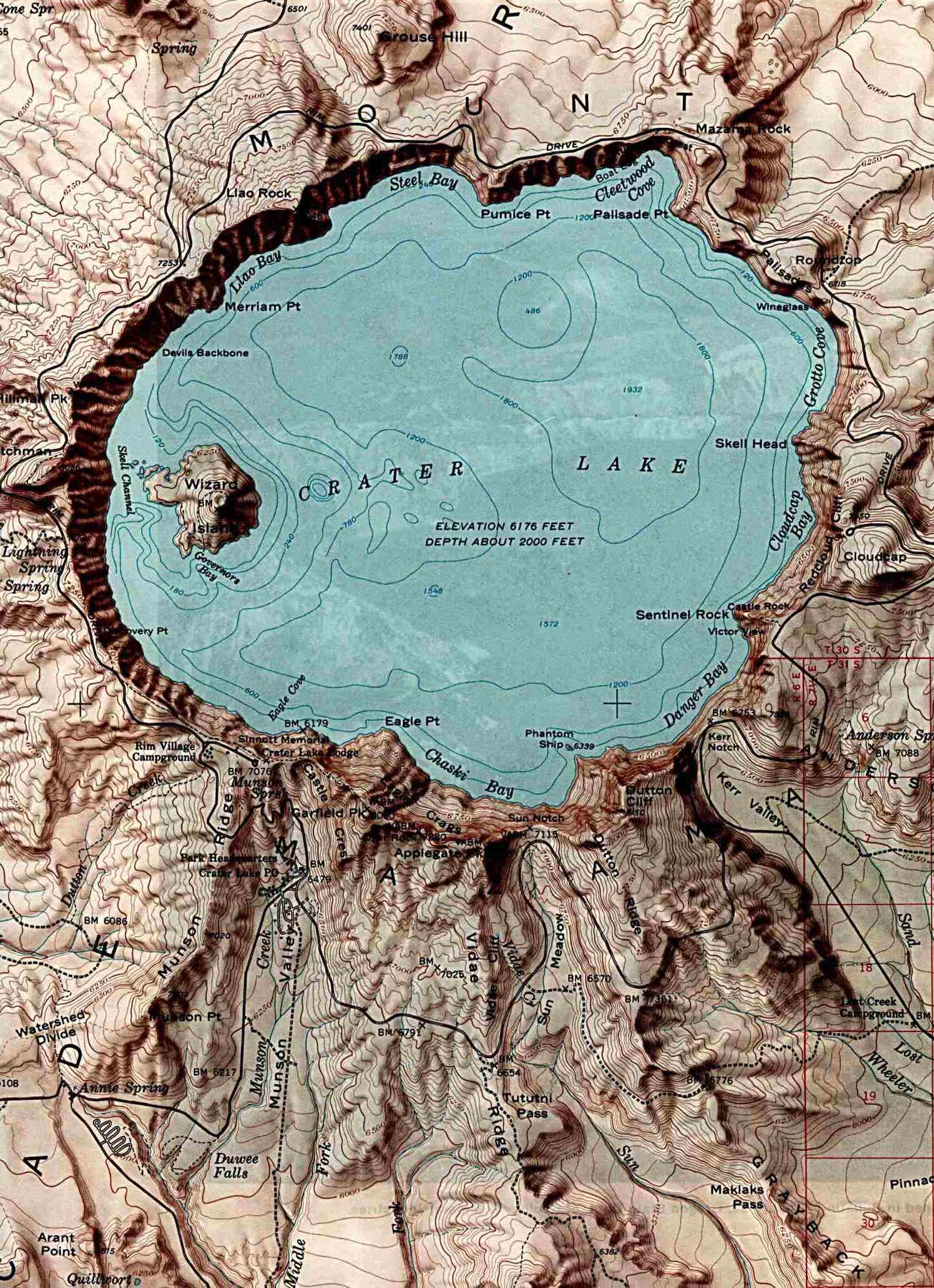 Maps of United States National Parks, Monuments and Historic Sites Crater Lake National Park [Oregon] (Shaded Relief Map) 1:62,500 U.S.G.S. 1984 (357K)