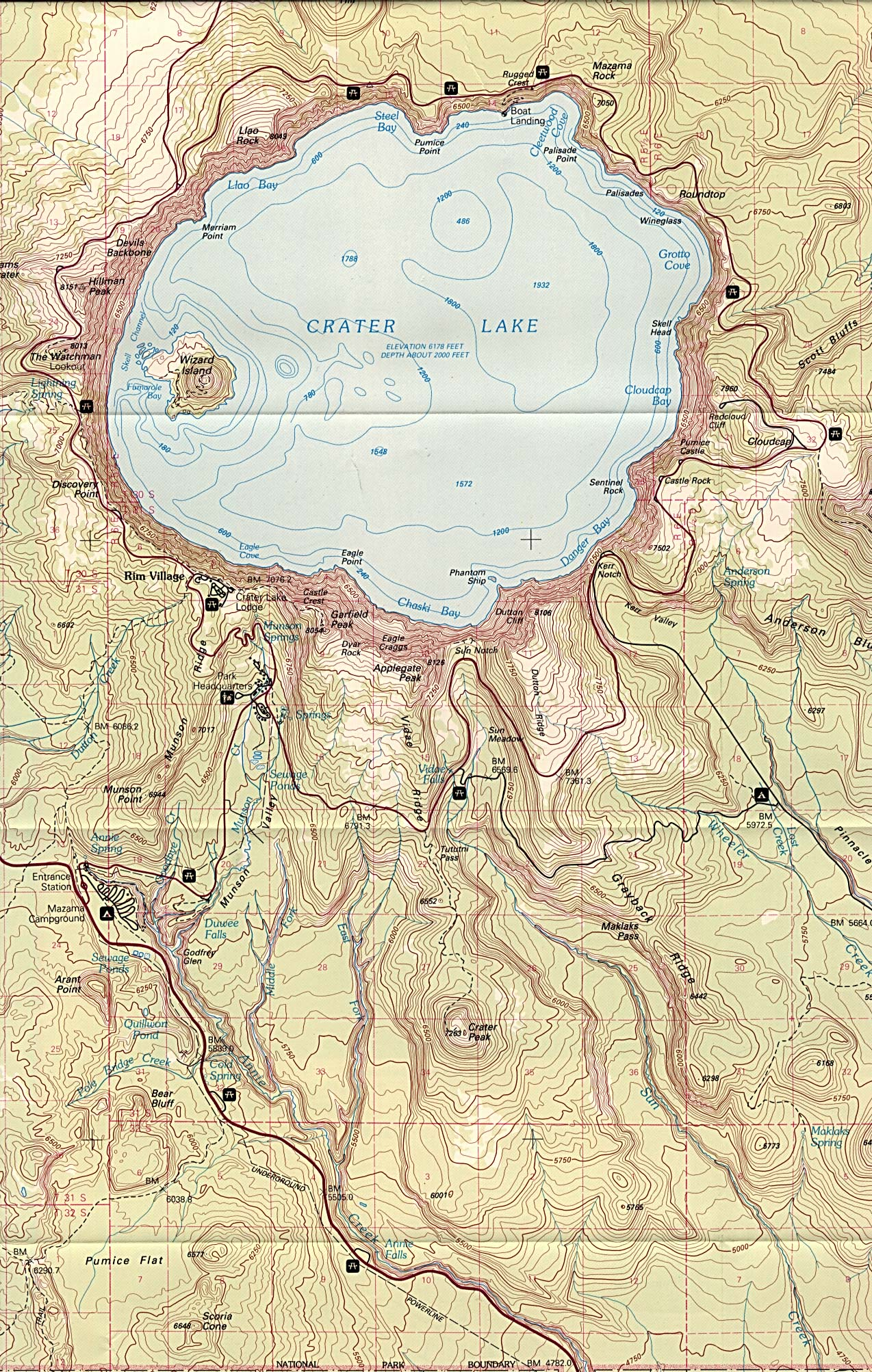 Maps of United States National Parks, Monuments and Historic Sites Crater Lake National Park [Oregon] [Topographic Map] scale 1:62,500 U.S.G.S. 1988 (944K)