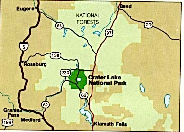 Maps of United States National Parks, Monuments and Historic Sites Crater Lake National Park [Oregon] (Area Map) (27K)