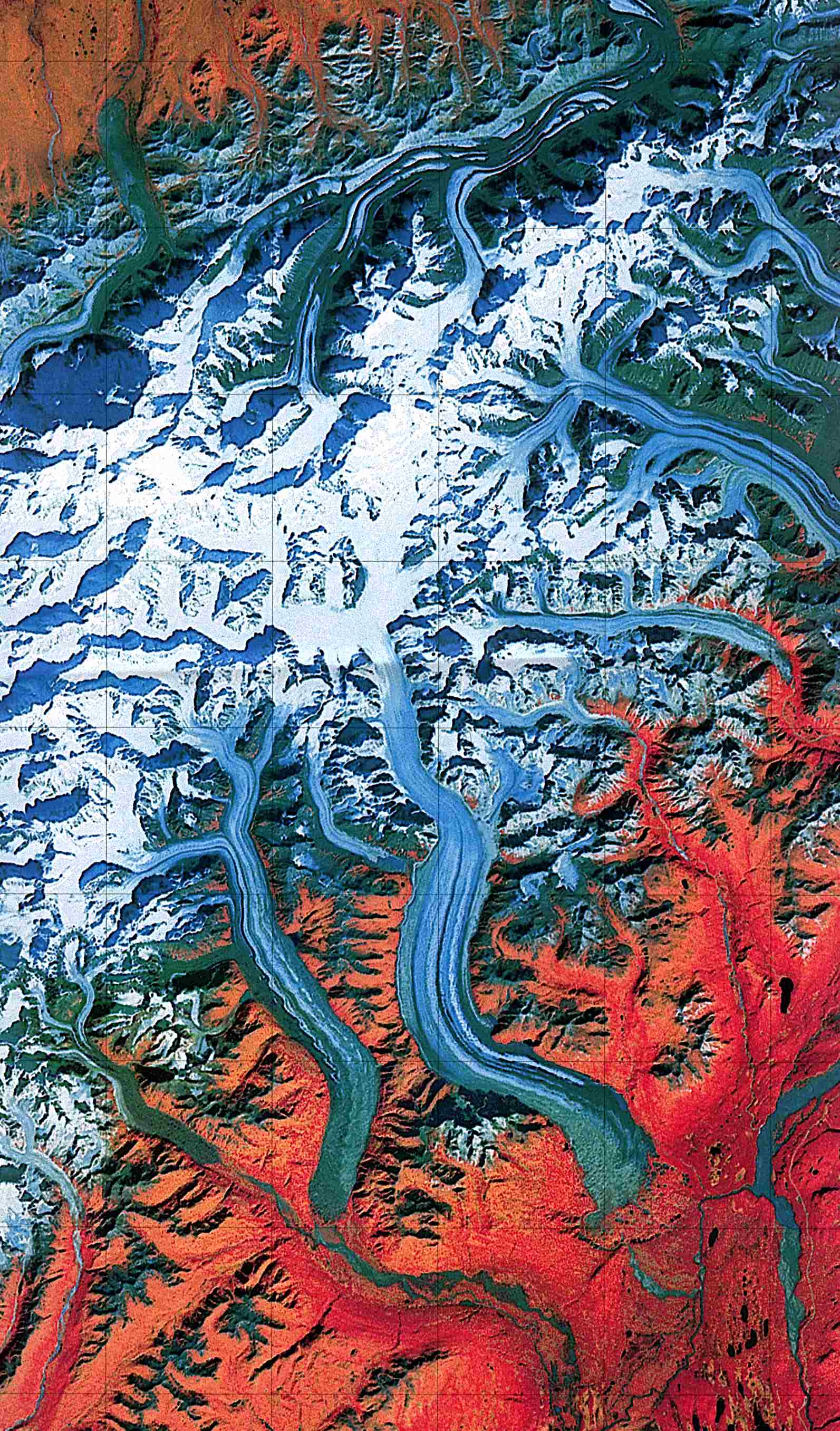 Maps of United States National Parks, Monuments and Historic Sites Denali National Park and Preserve [Alaska] (Landsat Image) 1:250,000 U.S.G.S. 1984 (459K)