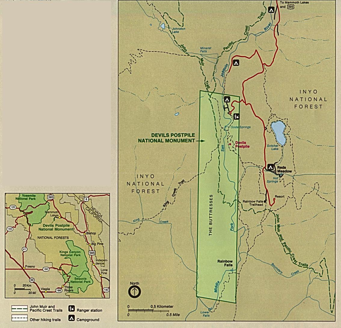 Maps of United States National Parks, Monuments and Historic Sites Devils Postpile National Monument [California] (Park and Area Maps) 1993 (289K)