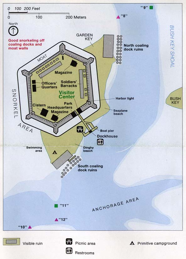 Maps of United States National Parks, Monuments and Historic Sites . Dry Tortugas National Park - Fort Jefferson [Florida] (Detail Map) 1994 (194K)