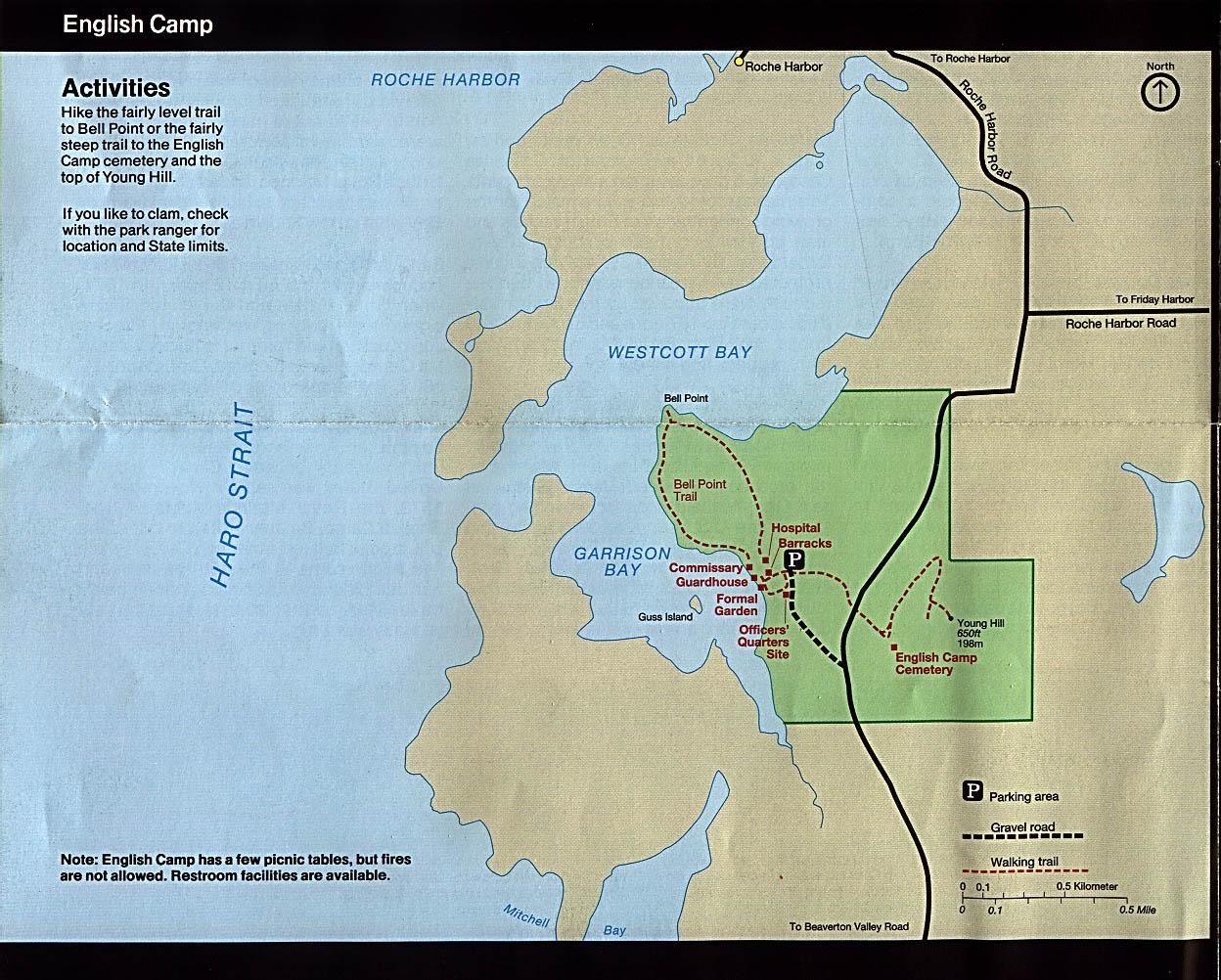 Maps of United States National Parks, Monuments and Historic Sites San Juan Island National Historical Park - English Camp [Washington] (Park Map) 1997 (323K)