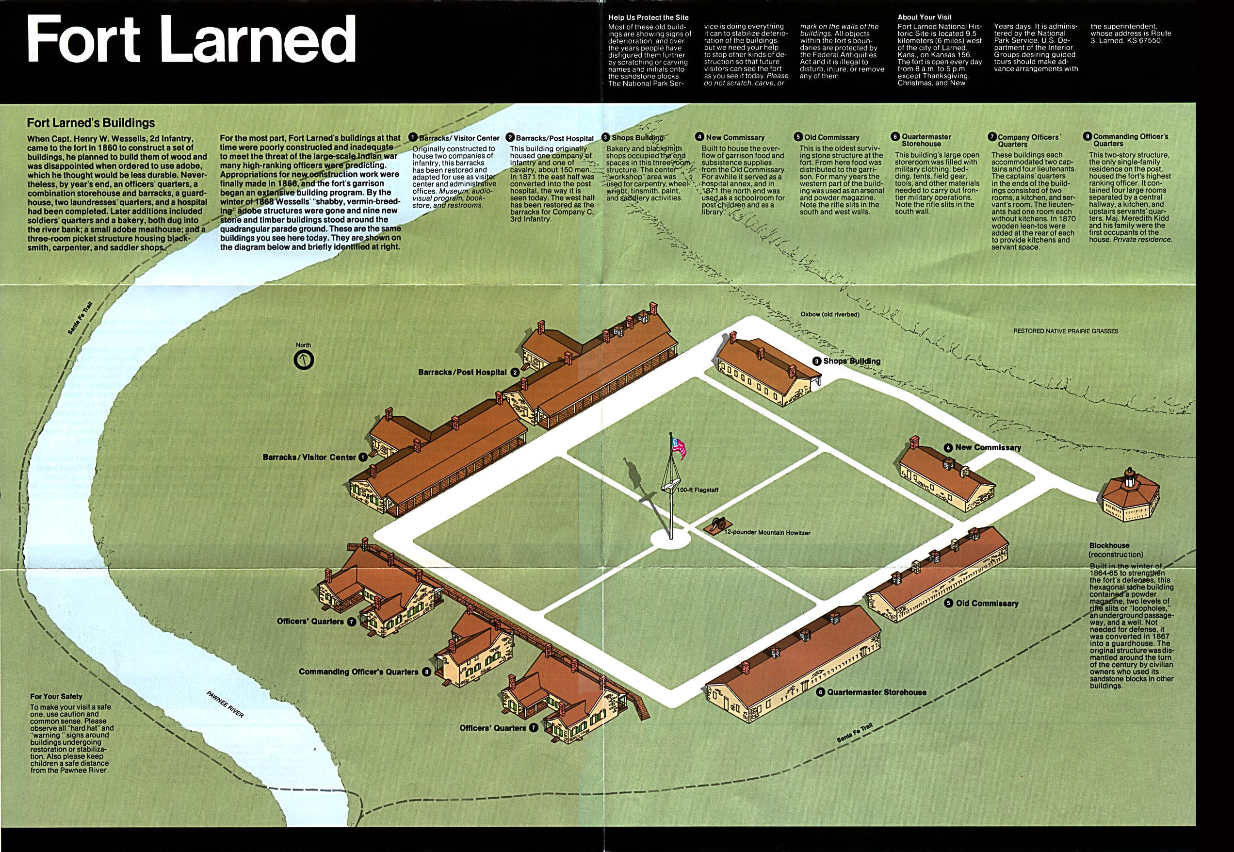 Maps of United States National Parks, Monuments and Historic Sites Fort Larned National Historic Site [Kansas] (Schematic Map) 1994 (893K)