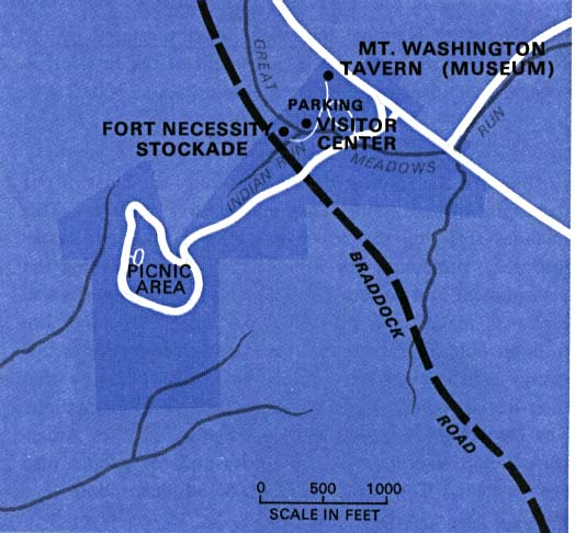 Maps of United States National Parks, Monuments and Historic Sites Fort Necessity National Battlefield [Pennsylvania] (Park Map) 1976 (46K)