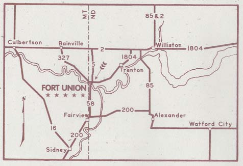 Maps of United States National Parks, Monuments and Historic Sites Fort Union Trading Post National Historic Site [North Dakota] (Location Map) (1999) (27K)