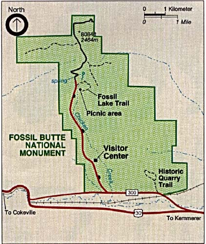 Maps of United States National Parks, Monuments and Historic Sites Fossil Butte National Monument [Wyoming] (Park Map) 1993 (102K)