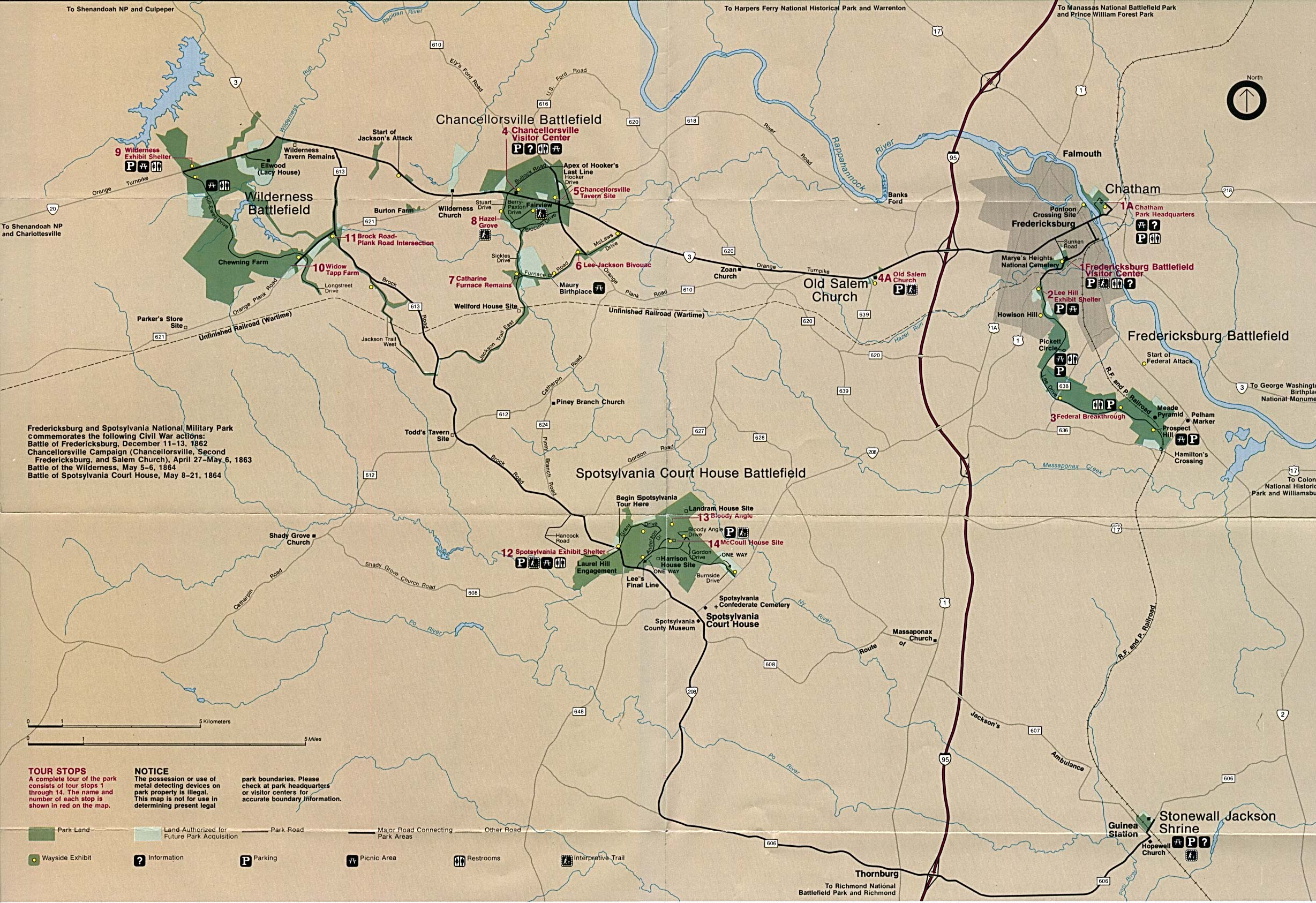 Maps of United States National Parks, Monuments and Historic Sites Fredericksburg and Spotsylvania National Military Park [Virginia] (Area Map) (717K)