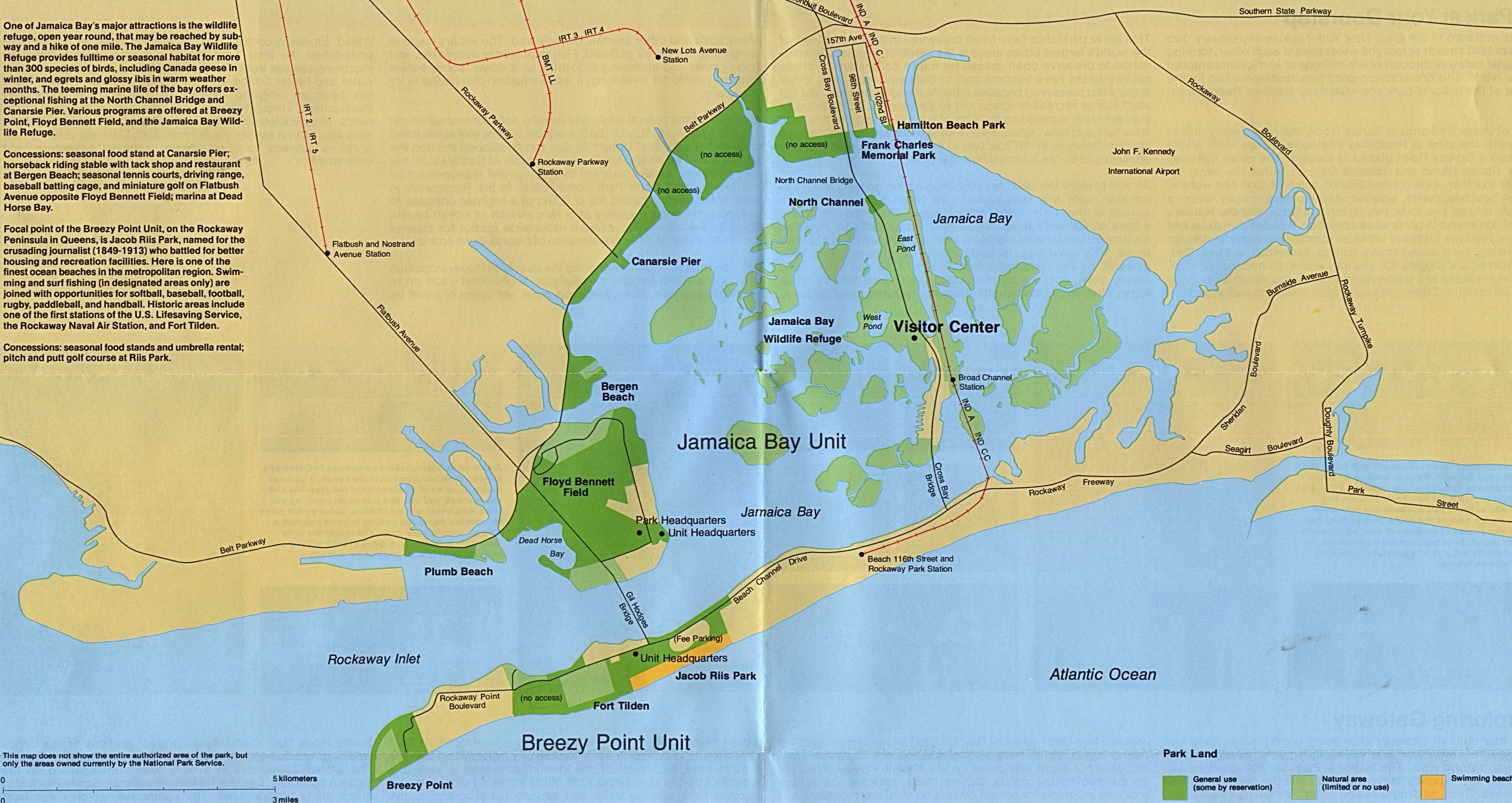 gateway national recreation area jamaica bay and breezy point new york new jersey detail map
