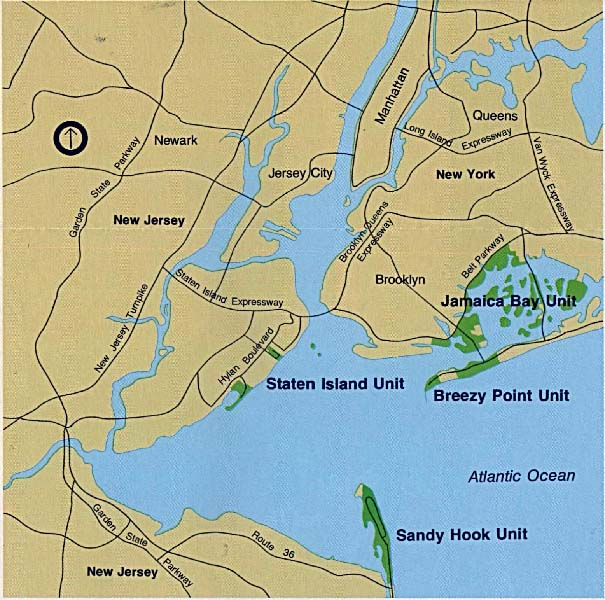 Maps of United States National Parks, Monuments and Historic Sites Gateway National Recreation Area [New York / New Jersey] (Area Map) 1994 (111K)