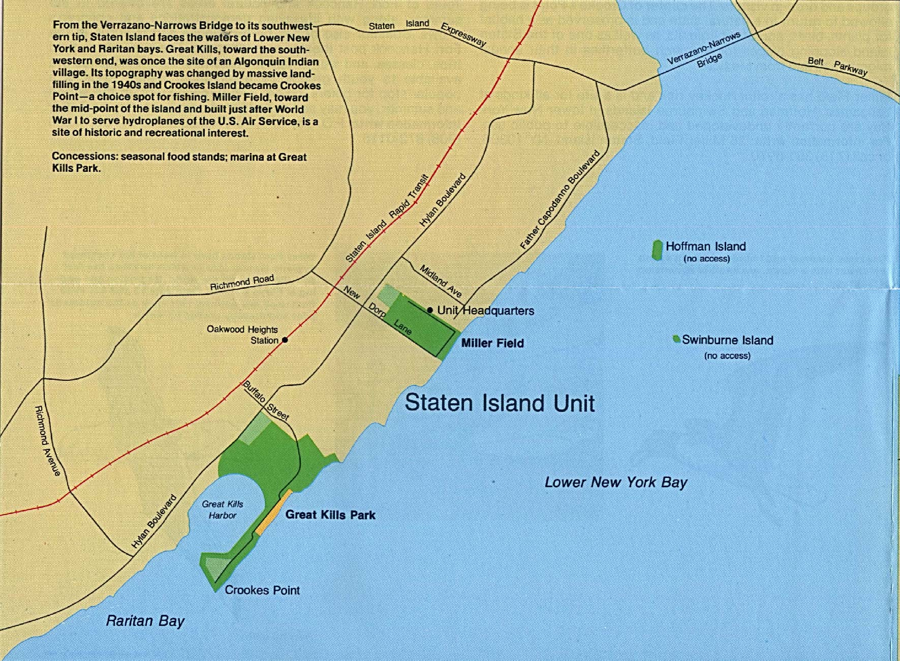 gateway national recreation area staten island new york new jersey detail map