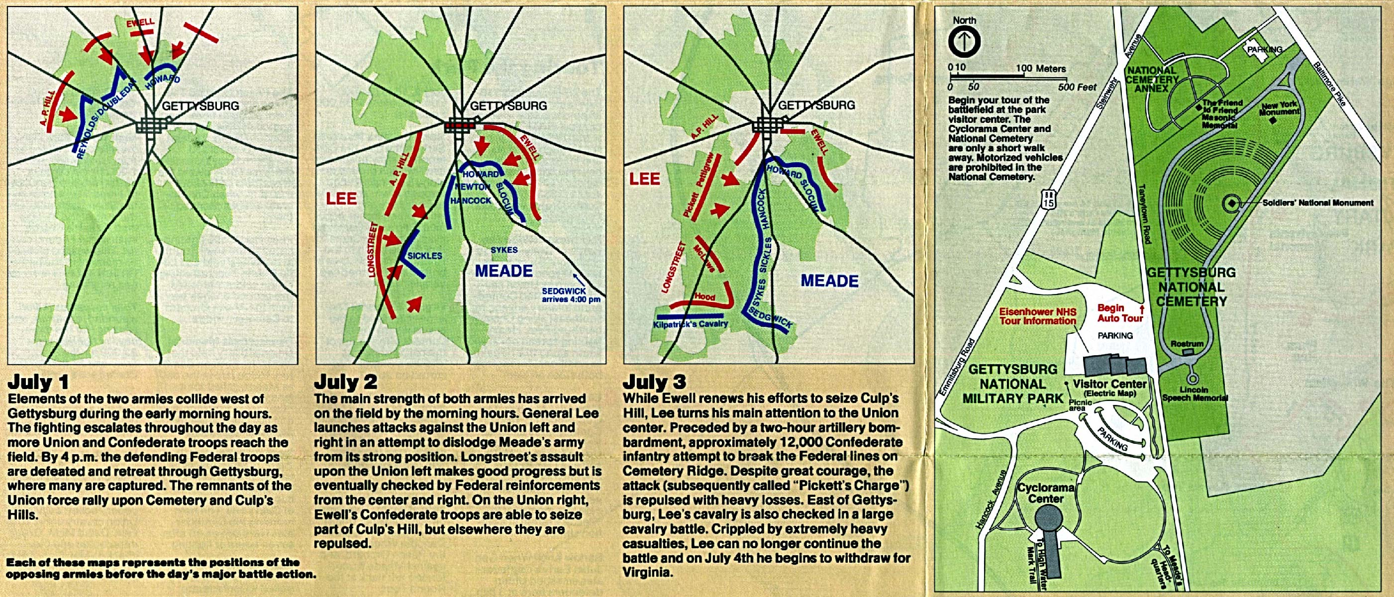 Maps of United States National Parks, Monuments and Historic Sites Gettysburg National Military Park [Pennsylvania] (Battle Maps with Park Map) 1995 (970K)