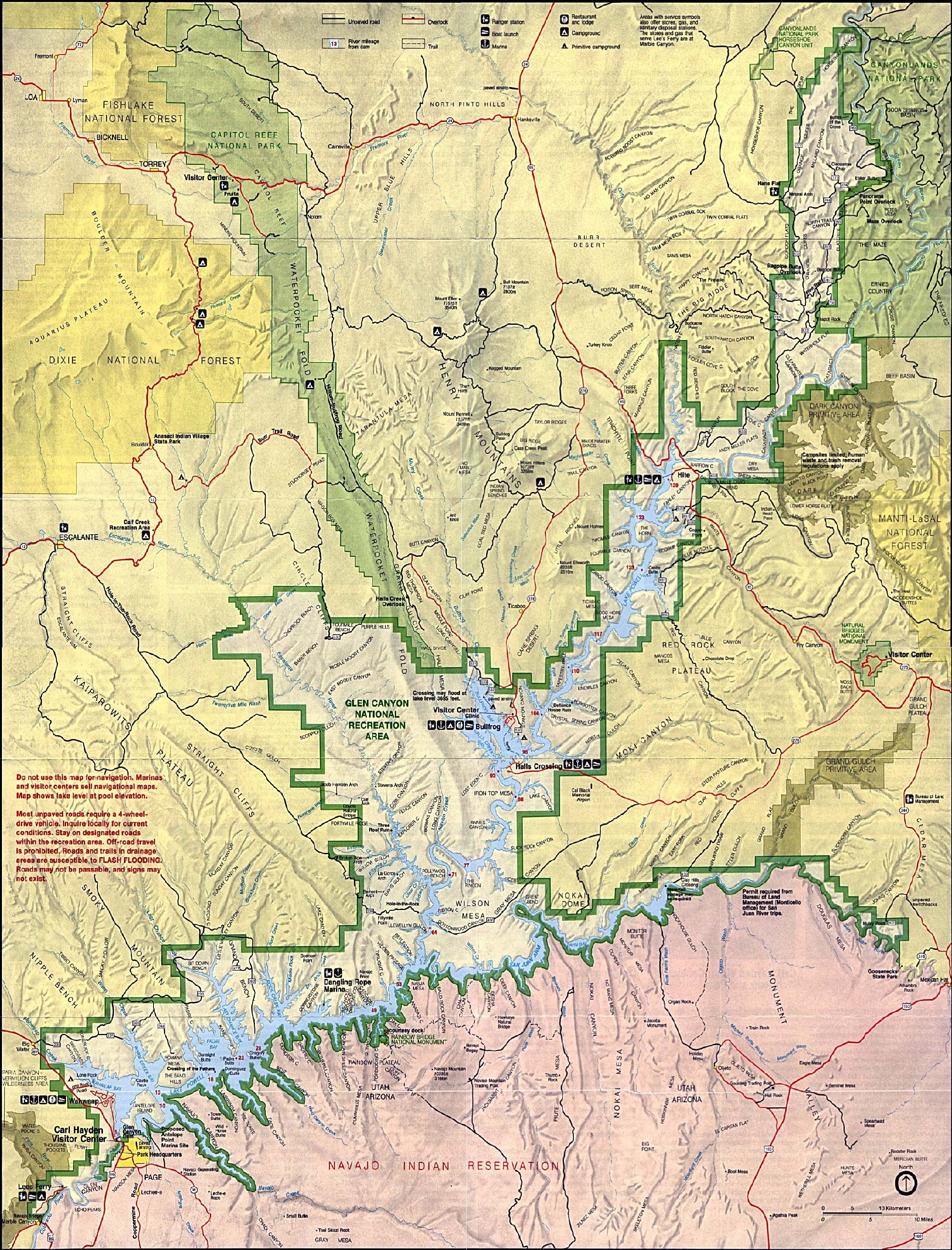 Maps of United States National Parks, Monuments and Historic Sites Glen Canyon National Recreation Area [Arizona / Utah] (Park Map / Shaded Relief) 1995 (1.8MB)