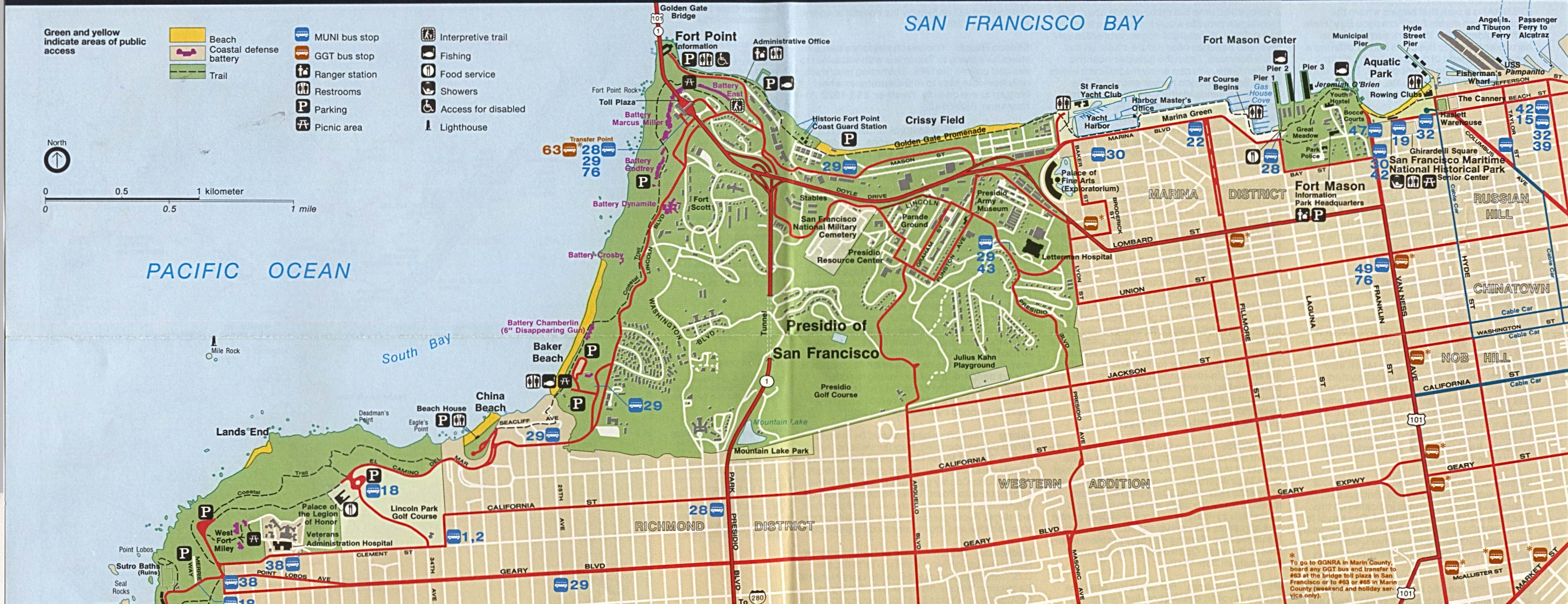Maps of United States National Parks, Monuments and Historic Sites Golden Gate National Recreation Area - Northern [California] (Park Map) 1995 (705K)