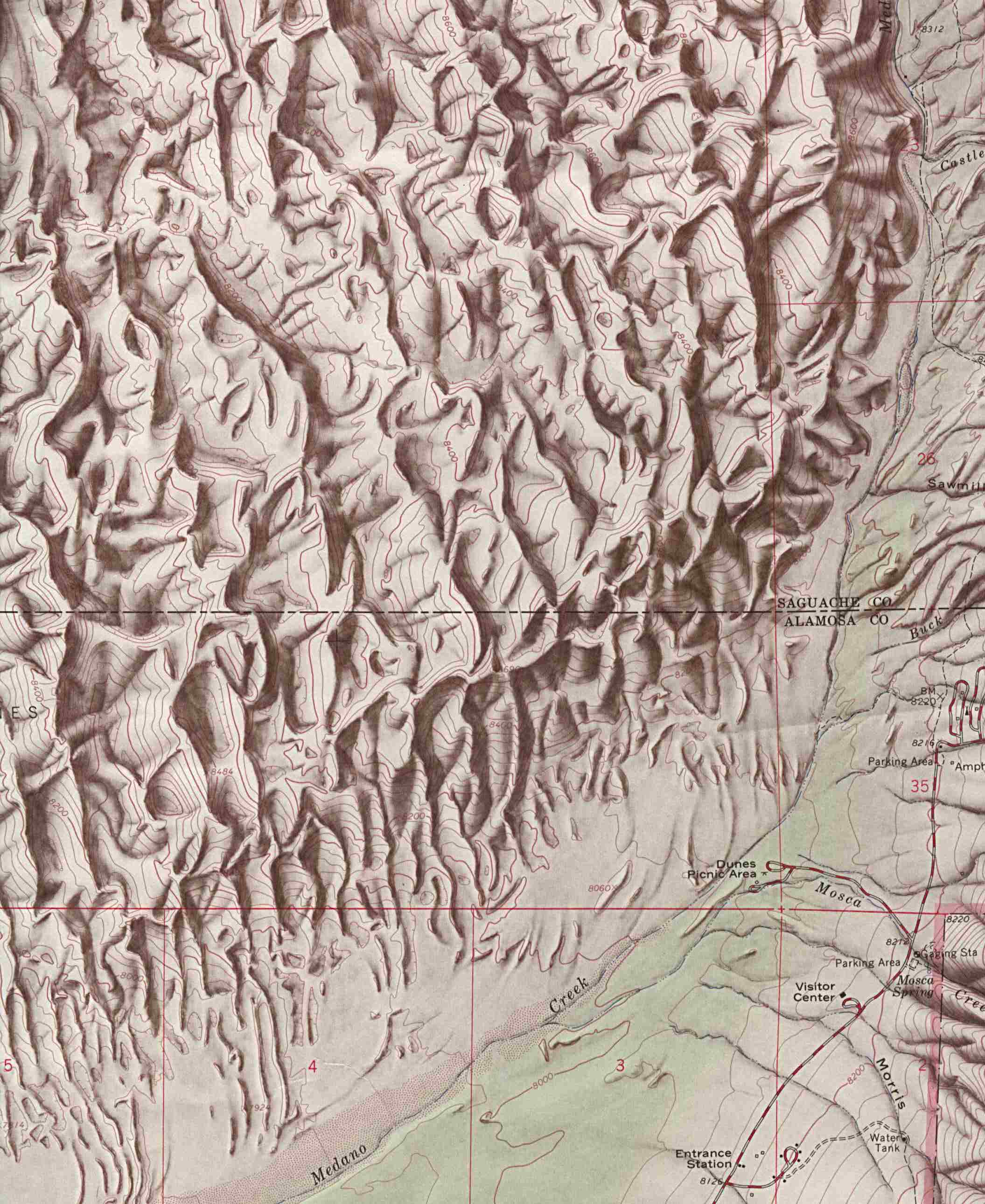 Maps of United States National Parks, Monuments and Historic Sites Great Sand Dunes National Monument [Colorado] (Shaded Relief Map) 1:24,000 U.S.G.S. 1967 (349K)