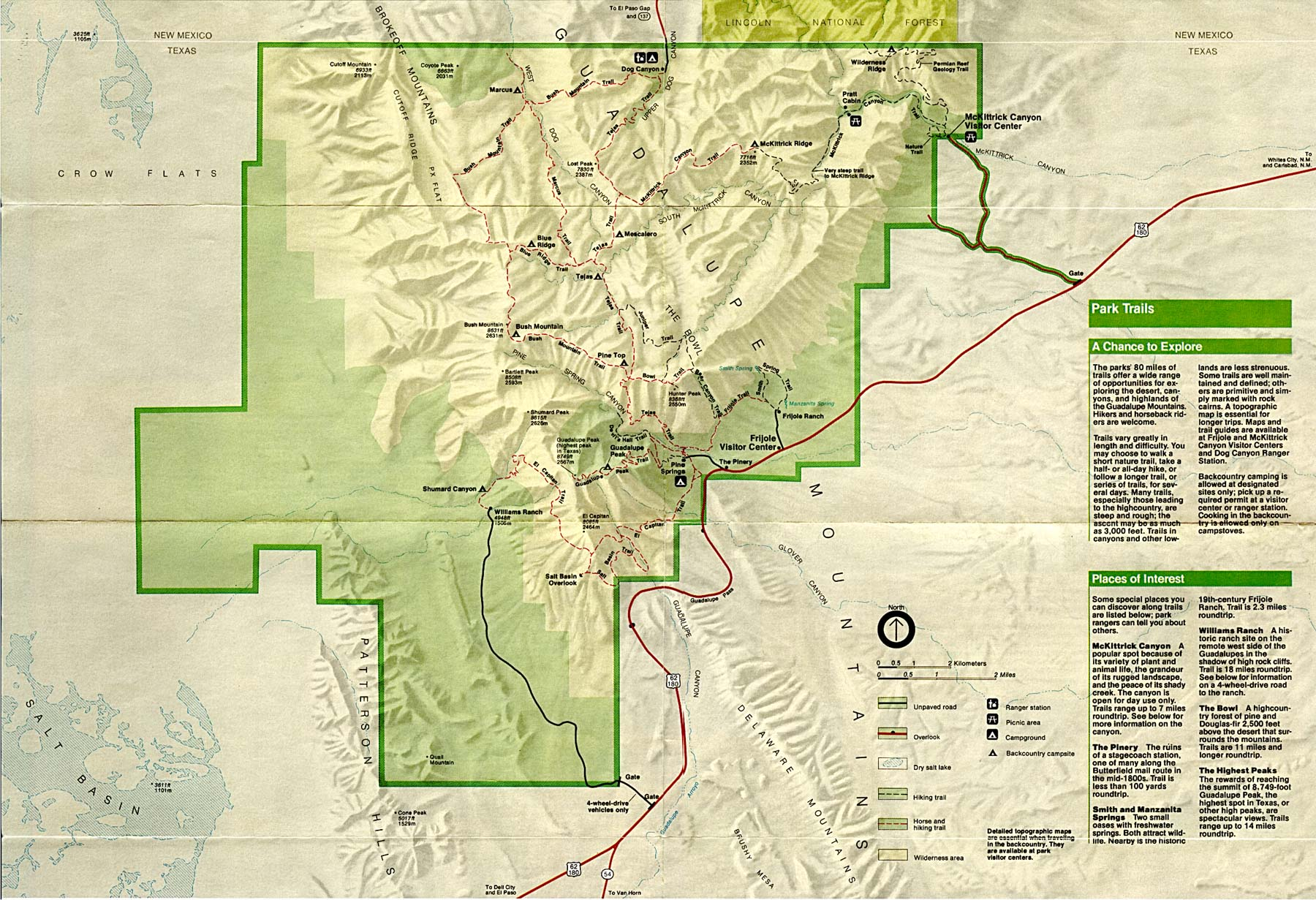 Guadalupe Mountains Texas Map